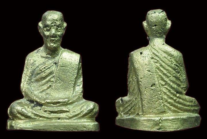 รูปหล่อโบราณ หลวงพ่อทบ พิมพ์ฐานเตี้ย ปี๐๕ วัดชนแดน พลายเงิน